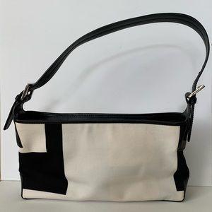 Bally Handbag: Black and White, Canvas/Leather